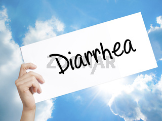 Diarrhea  Sign on white paper. Man Hand Holding Paper with text. Isolated on sky background