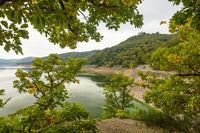Deutschland, Hessen, Edersee, Grüne Algen auf dem Edersee, Ederseerandstraße, Blick durch die Bäume auf den  Edersee