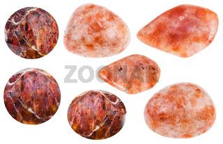 various Andesine (sunstone, heliolite) gemstones