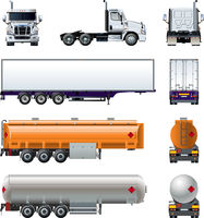 Vector realistic semi truck mockup set isolated on white