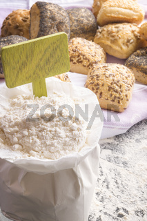 Open flour bag and a banner