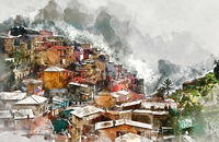 Digital watercolor painting of Manarola. Manarola is a small coastal village in the Italian region of Liguria, Cinque Terre. Province of La Spezia