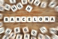 Barcelona Stadt Reise Reisen Würfel Business Konzept