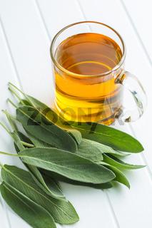 Sage tea and leaves.