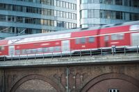 red german train in motion