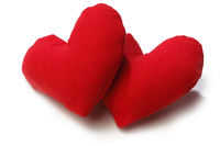 A Pair Of Fabric Red Hearts