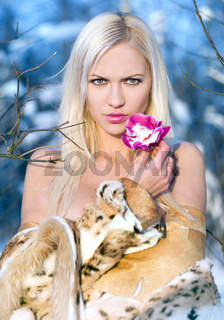 Blonde with orchid