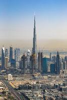 Dubai Burj Khalifa Hochhaus Downtown hochkant Luftaufnahme Luftbild