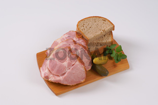 smoked pork neck with bread