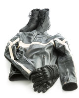 Motorcycle boots, jacket and gloves.