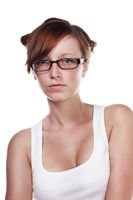 Pretty Female Student wearing glasses isolated on white background