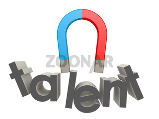 Magnet to attract talent on white