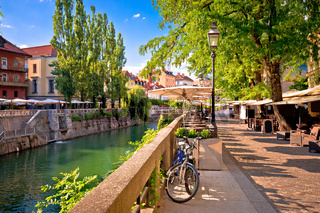 Ljubljana green riverfront promenade walkway summer view