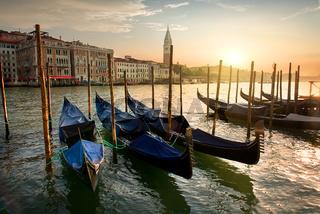 Gondolas and sunset