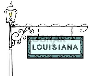 Louisiana retro pointer lamppost. Louisiana state America touris