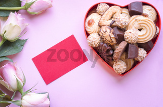 Roses with cookies and a label