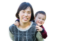 Chinese Mother and Mixed Race Child Isolated on a White Background.
