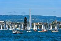 Sailing boats at the lakefront of Lake Geneva, Geneva, Switzerland