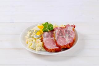 smoked pork with potato salad