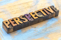 perspective - word abstract in wood type