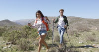 Two young people trekking