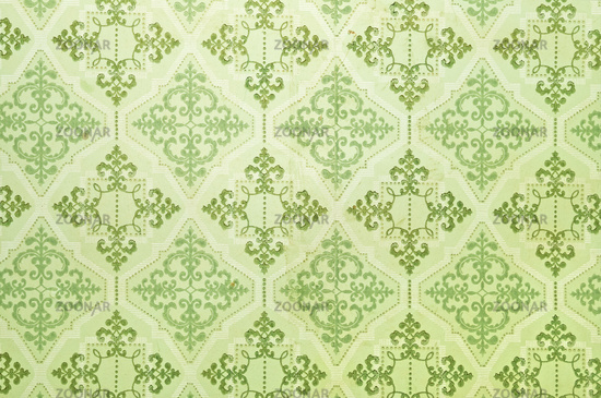 old wallpaper texture. Old green wallpaper for