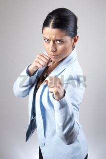 Business woman ready to fight