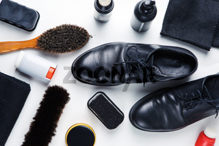 Cleaning boots concept on white background