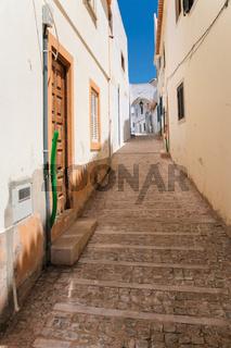 narrow pedestrian street in old town of Albufeira