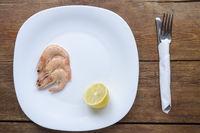 shrimps on white plate