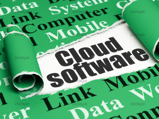 Cloud networking concept: black text Cloud Software under the piece of  torn paper