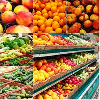 Different grocery shelves full of fruit and vegetables, collage of colorized photo