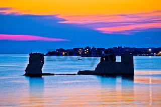 Sukosan old ruin on the sea sunset view