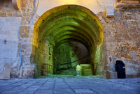 The pass through the fortress wall inside Senglea fortified city. Malta