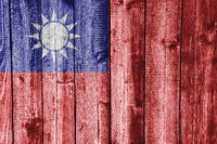 Fahne von Taiwan auf verwittertem Holz - Flag of Taiwan on weathered wood