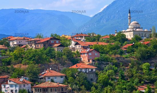 Ottoman houses and white mosque, Safranbolu, Turkey