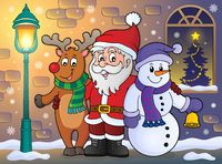 Christmas characters on sidewalk theme 1