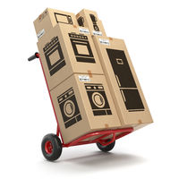 Sale and delivery of household kitchen appliaces concept. Hand truck and cardboard boxes with appliaces.