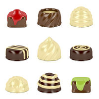 Chocolate candies on white