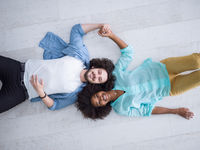top view 0f Cheerful young multiethnic couple