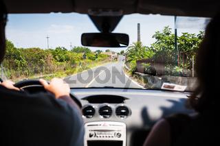 driving a car in rural region in Sicily