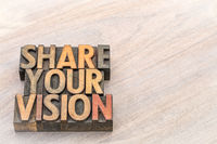 share your vision word abstract in wood type
