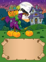 Small parchment and Halloween scarecrow