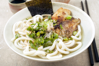 Udon Fish Soup in Bowl