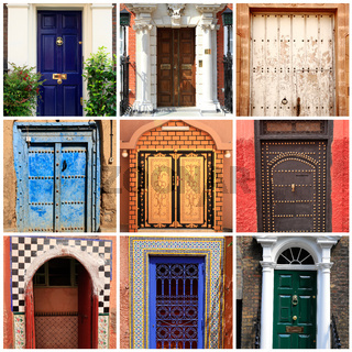 Collage of different doors and gates from all over the World
