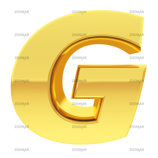 Gold alphabet symbol letter G with gradient reflections isolated on white. High resolution 3D image