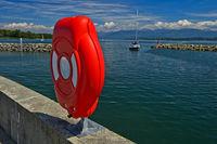 Box of life safety buoy in the Aberiaux Marina, Port des Aberiaux at Lake Geneva, Switzerland
