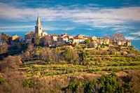 Idyllic hill village of Groznjan view