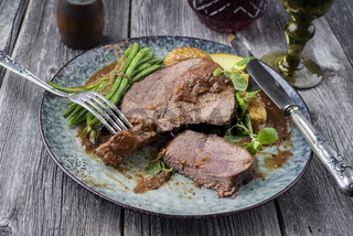 Roasted Venison with Vegetable in Burgundy Sauce