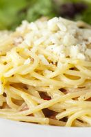 Nahaufnahme von Spaghetti carbonara